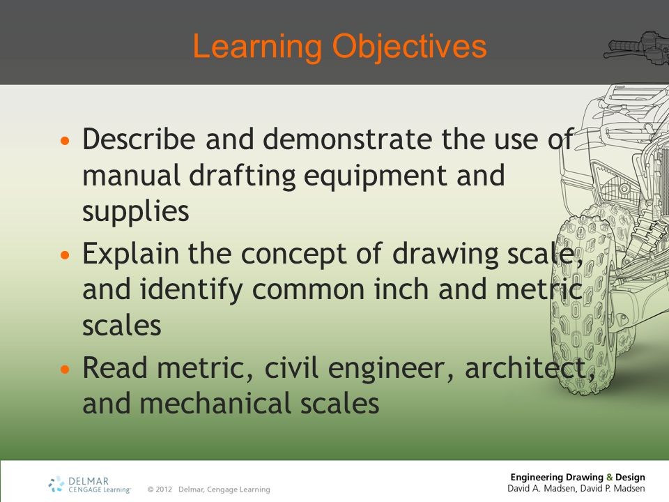 Learning Objectives Describe and demonstrate the use of manual drafting equipment and supplies.