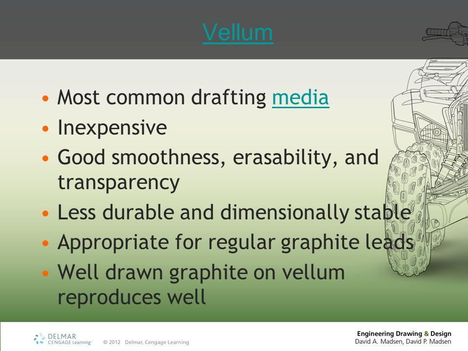 Vellum Most common drafting media Inexpensive