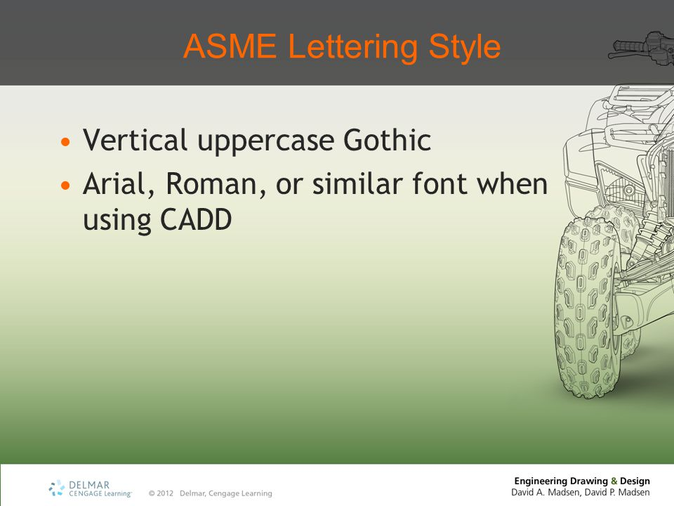 ASME Lettering Style Vertical uppercase Gothic