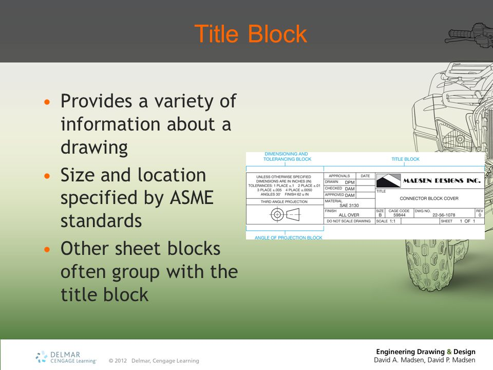 Title Block Provides a variety of information about a drawing