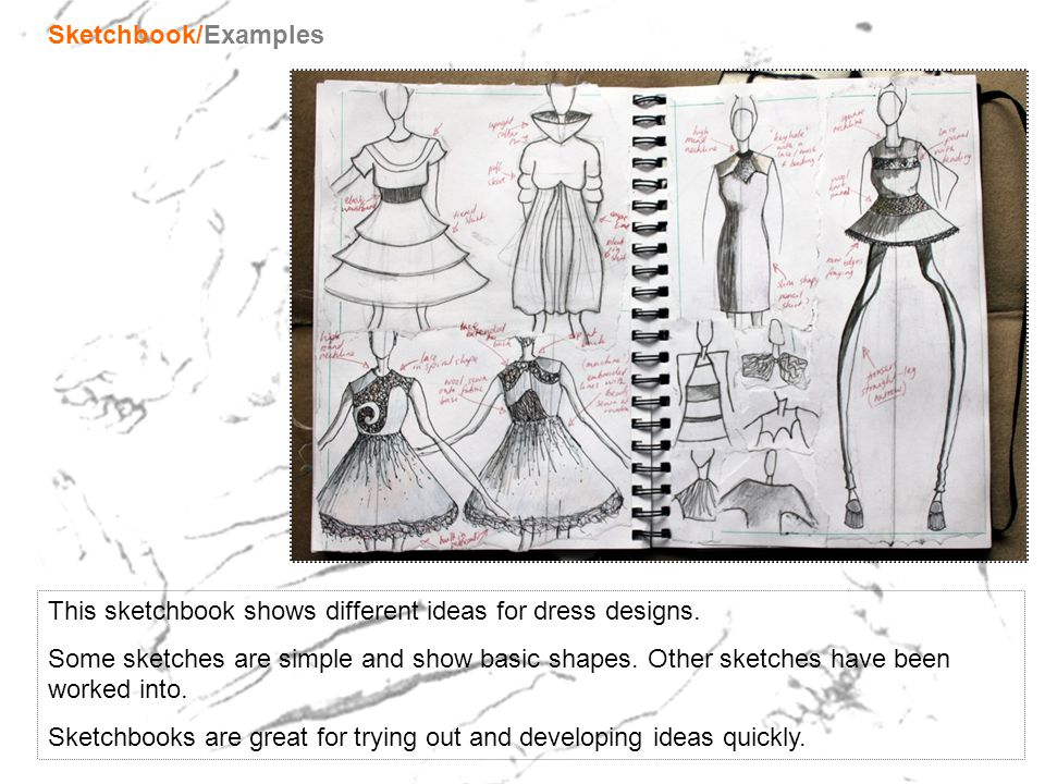 Sketchbook/Examples This sketchbook shows different ideas for dress designs.
