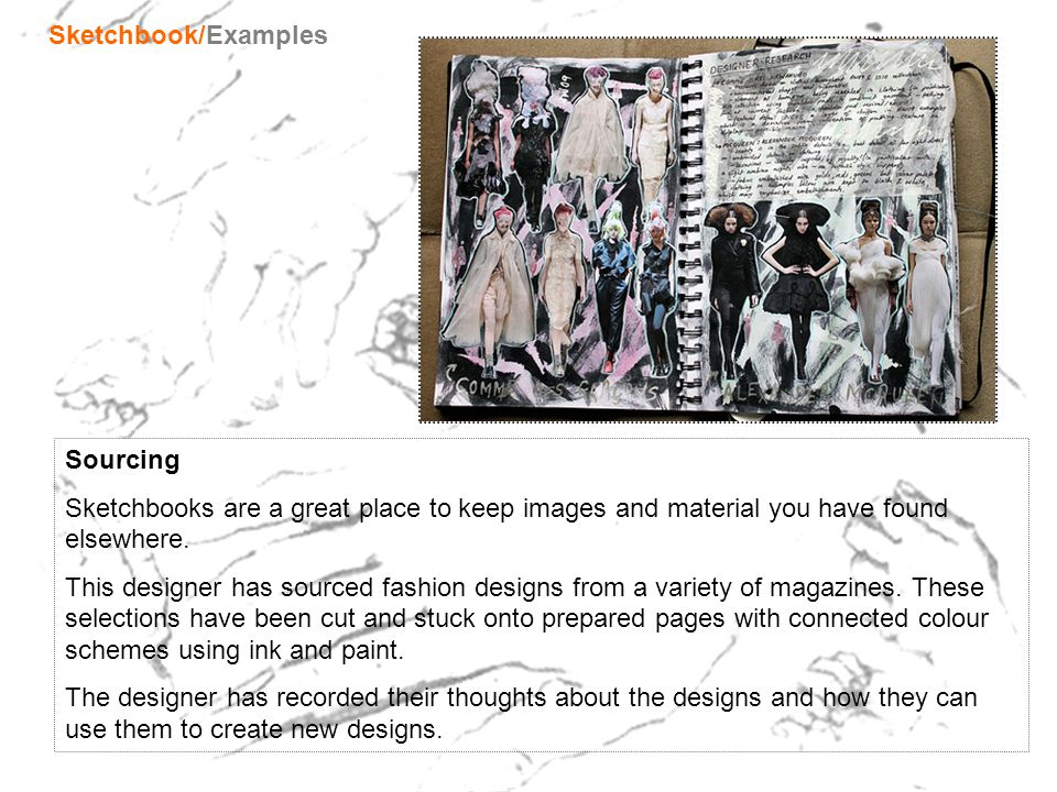 Sketchbook/Examples Sourcing. Sketchbooks are a great place to keep images and material you have found elsewhere.
