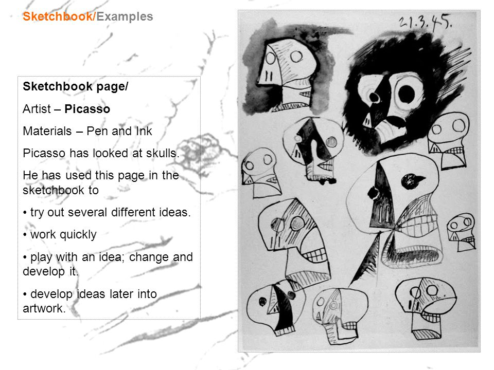 Sketchbook/Examples Sketchbook page/ Artist – Picasso. Materials – Pen and Ink. Picasso has looked at skulls.