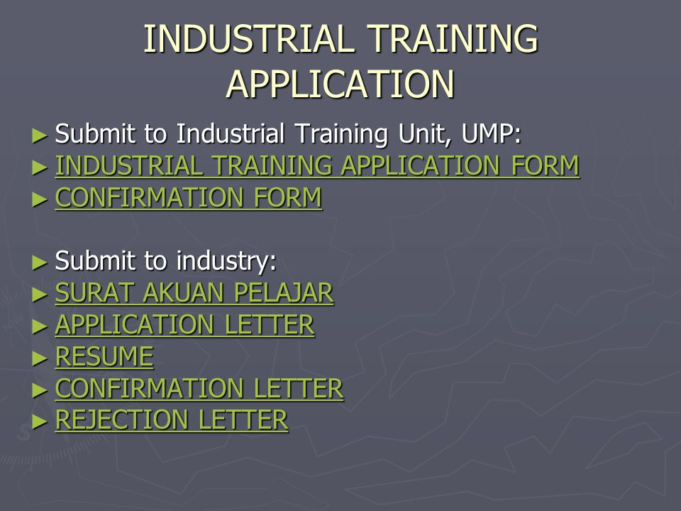 INDUSTRIAL TRAINING APPLICATION