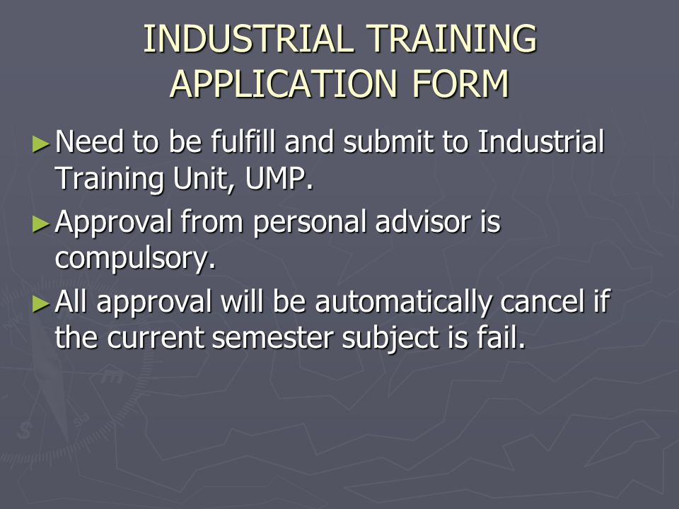 INDUSTRIAL TRAINING APPLICATION FORM
