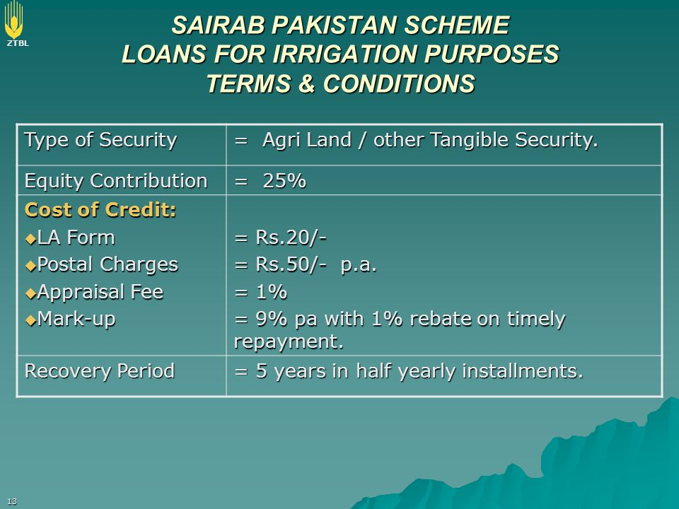 SAIRAB PAKISTAN SCHEME LOANS FOR IRRIGATION PURPOSES TERMS & CONDITIONS