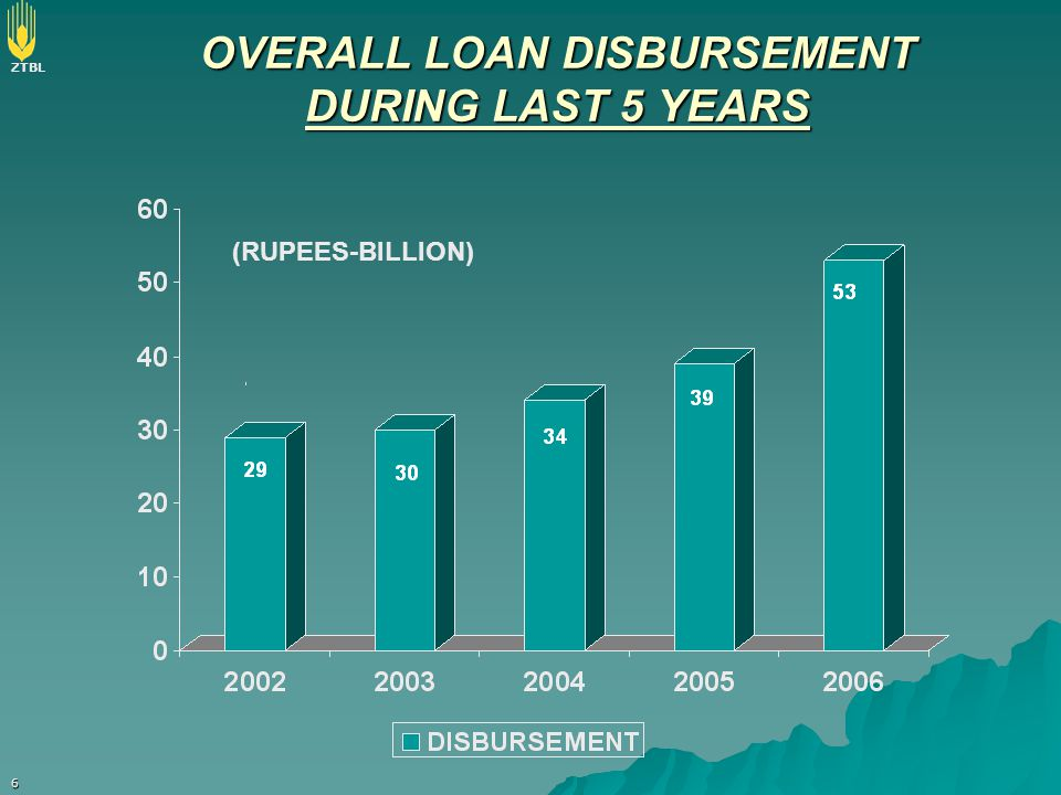 OVERALL LOAN DISBURSEMENT DURING LAST 5 YEARS