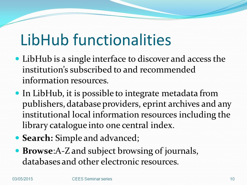 LibHub functionalities