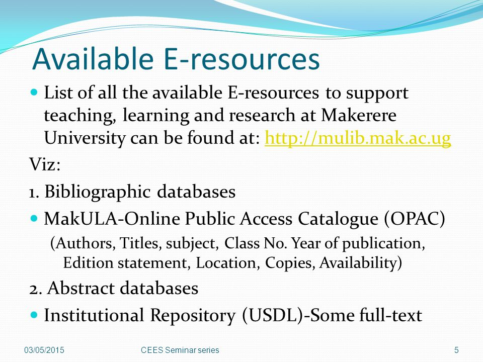 Available E-resources