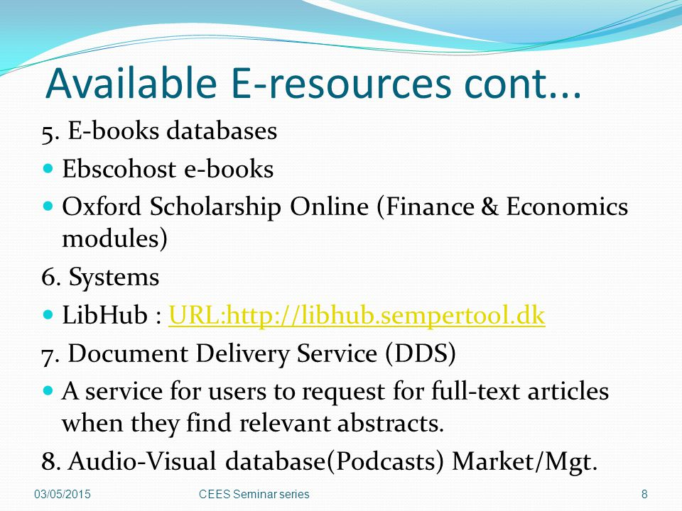 Available E-resources cont...