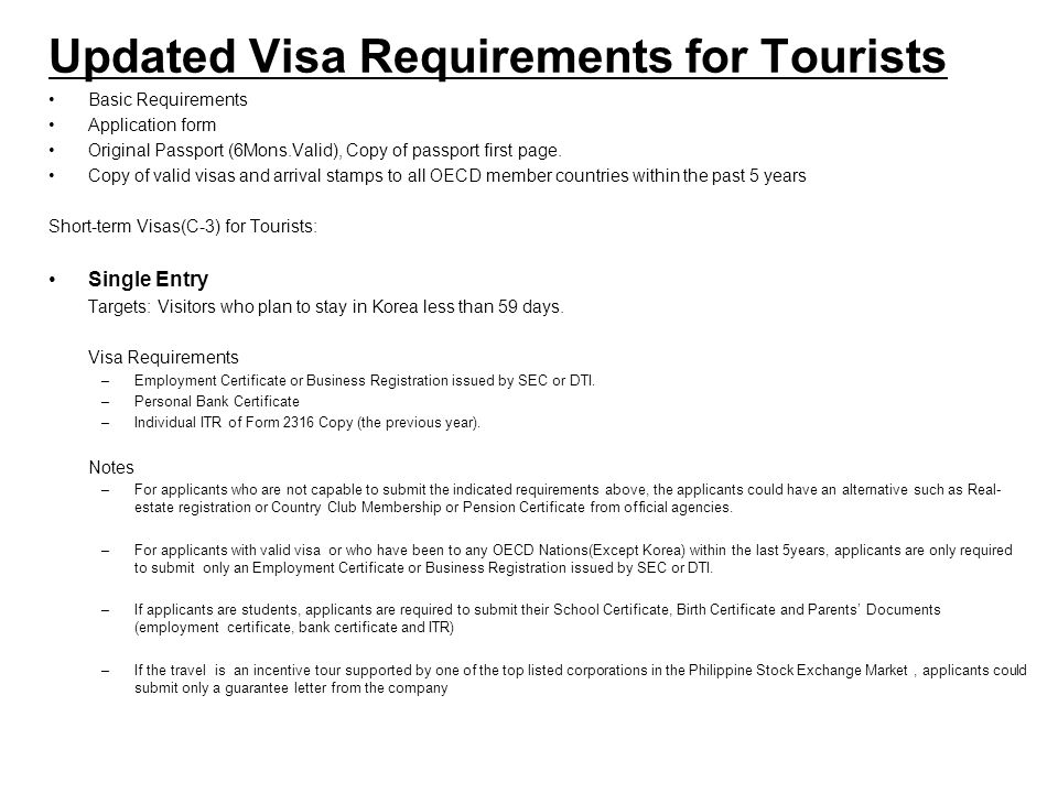 Updated Visa Requirements for Tourists