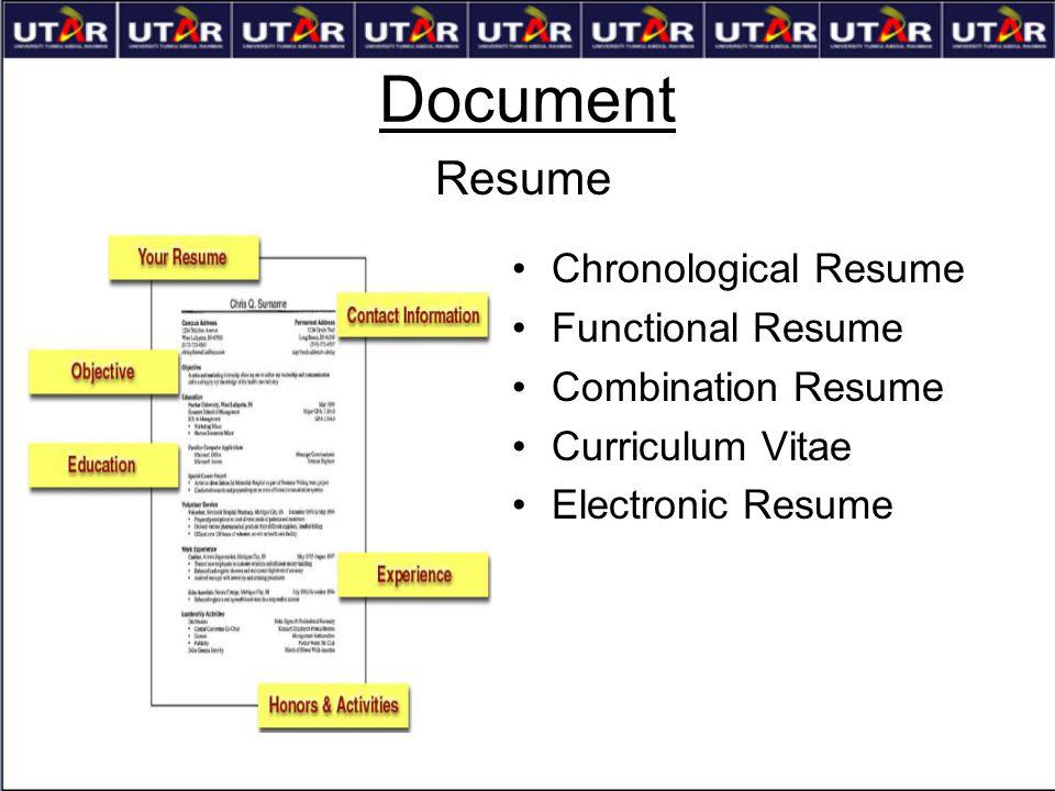 Document Resume Chronological Resume Functional Resume