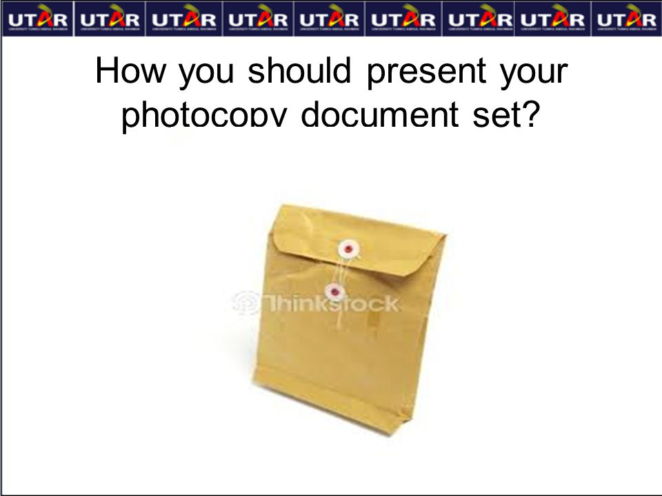 How you should present your photocopy document set