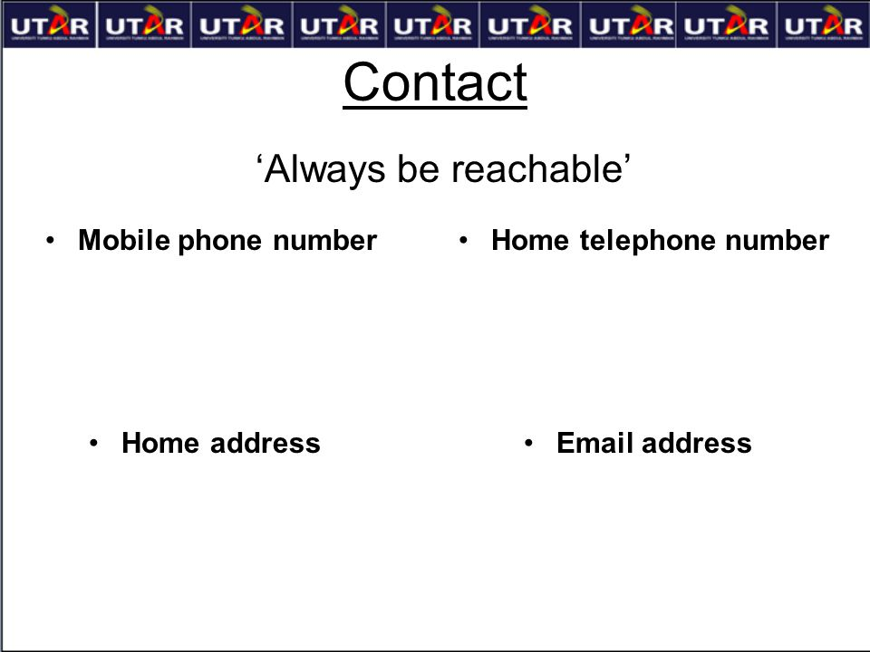 Contact 'Always be reachable' Mobile phone number