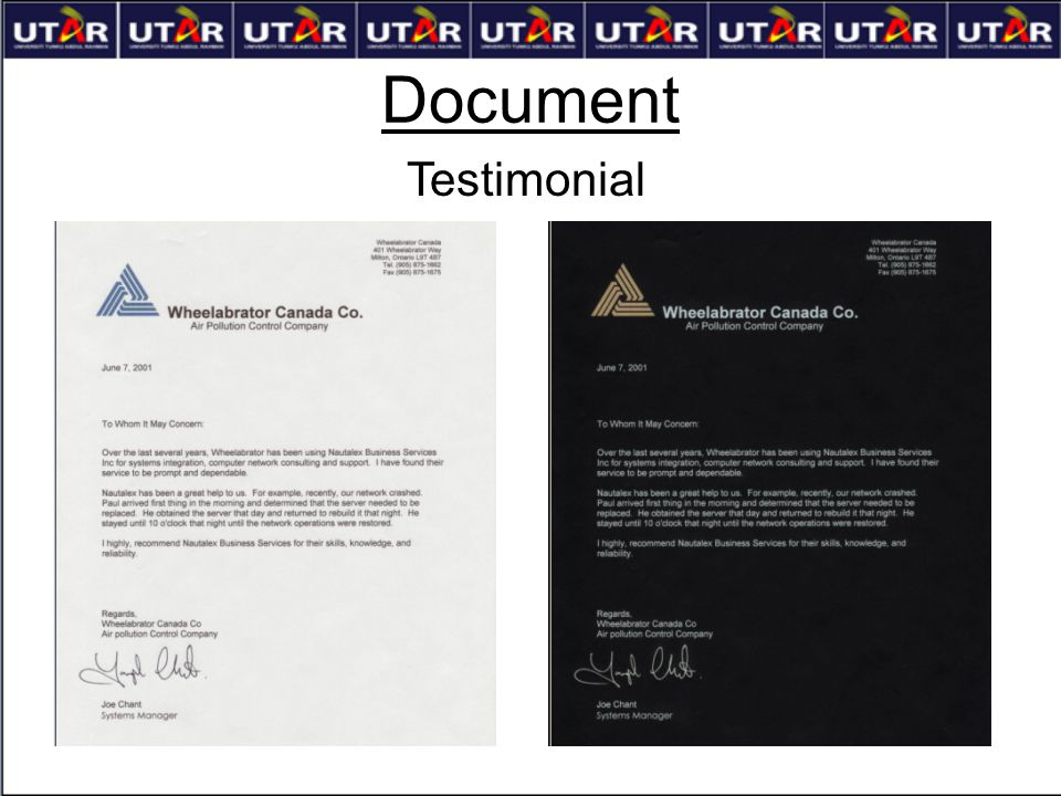 Document Testimonial