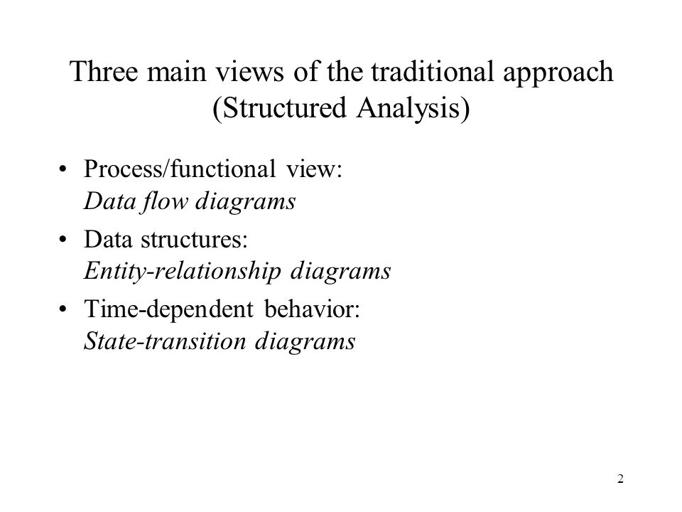 Three main views of the traditional approach (Structured Analysis)