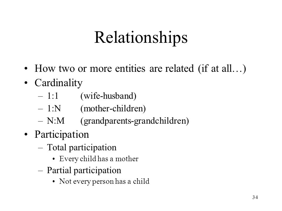 Relationships How two or more entities are related (if at all…)