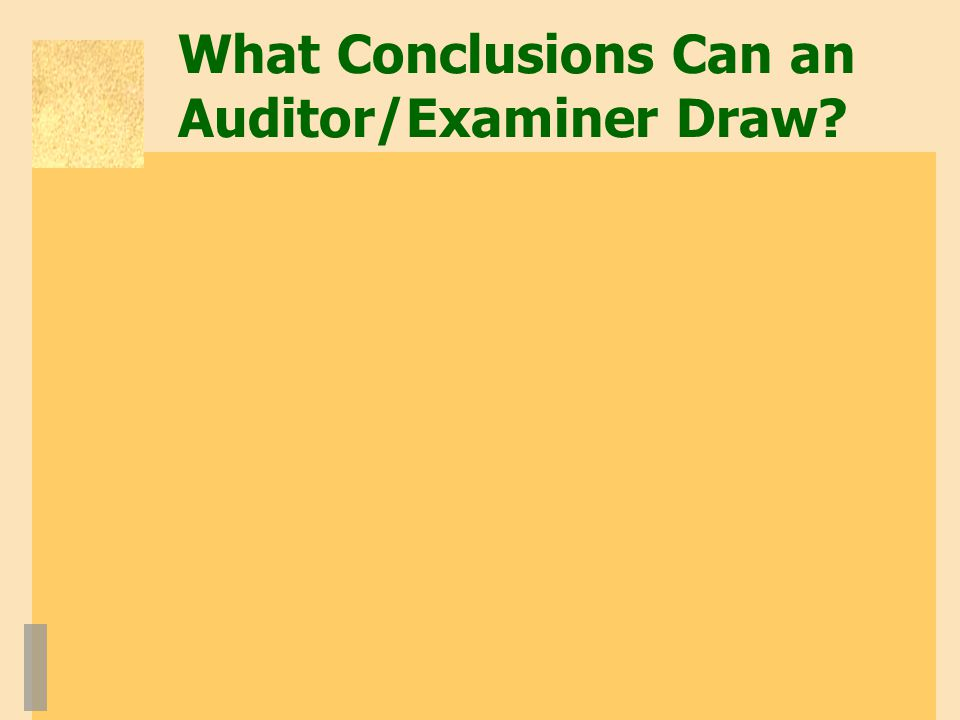 What Conclusions Can an Auditor/Examiner Draw