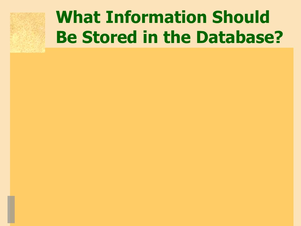What Information Should Be Stored in the Database