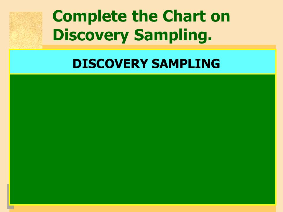 Complete the Chart on Discovery Sampling.