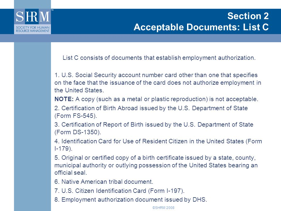 Introduction to Form I-9 Section 2 Acceptable Documents: List C