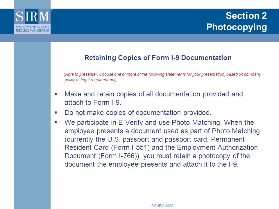 Retaining Copies of Form I-9 Documentation