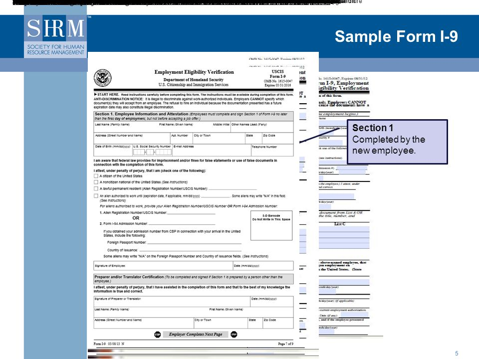 Sample Form I-9 - - Section 1 Completed by the new employee.