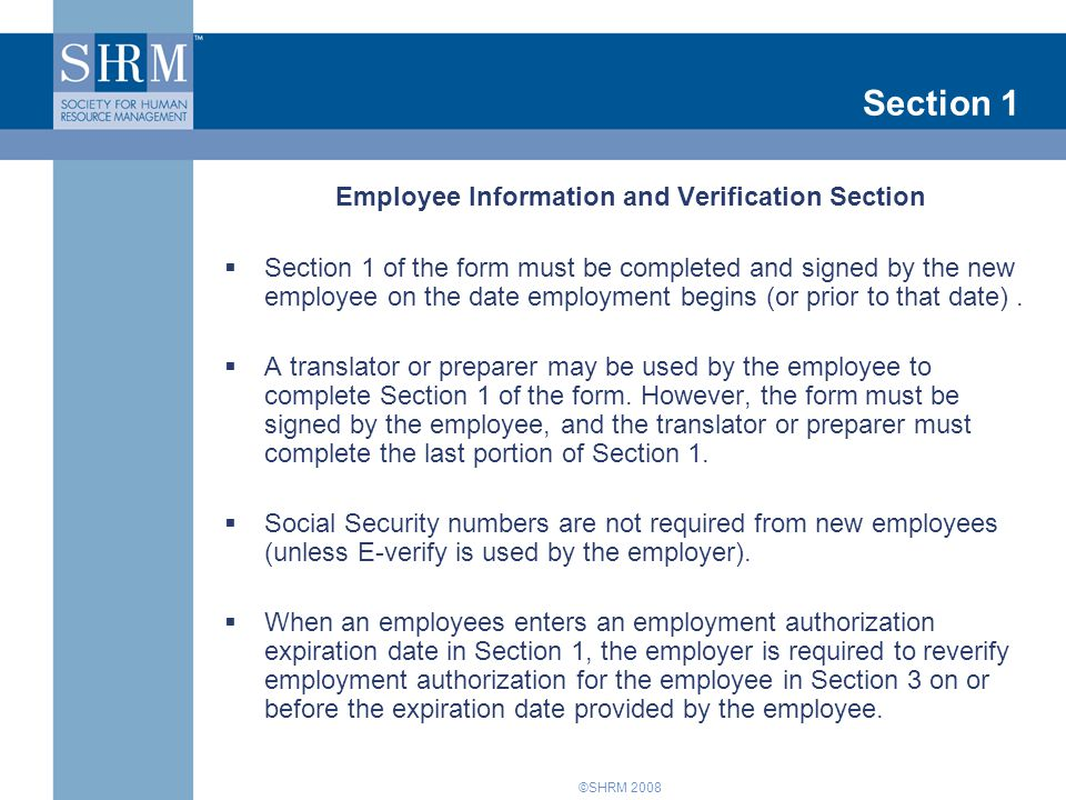 Employee Information and Verification Section