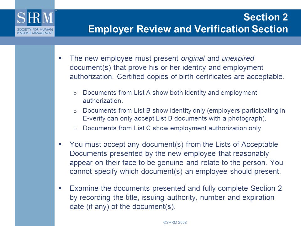 Introduction to Form I-9 Section 2 Employer Review and Verification Section