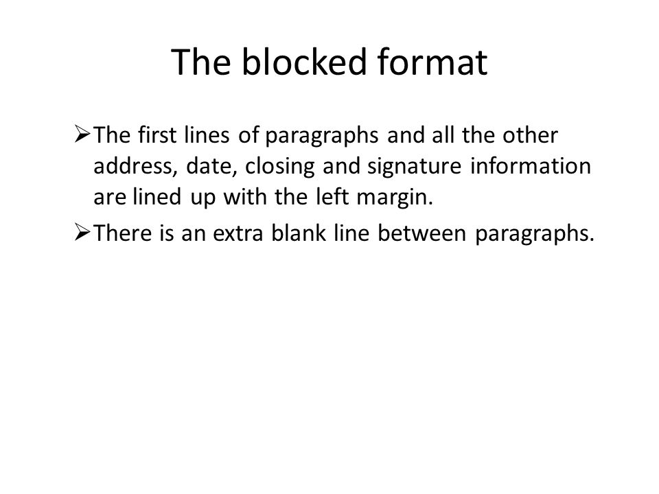 The blocked format