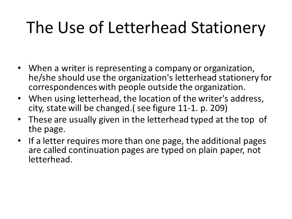 The Use of Letterhead Stationery