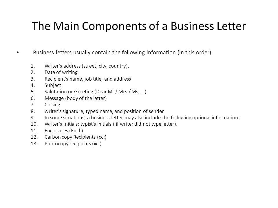 The Main Components of a Business Letter
