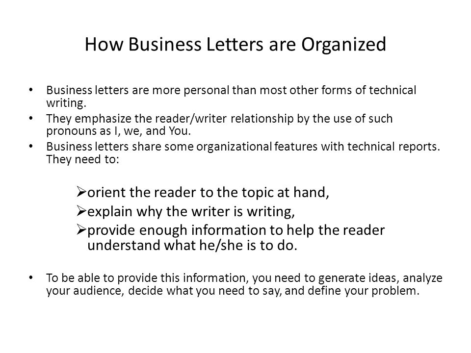 How Business Letters are Organized
