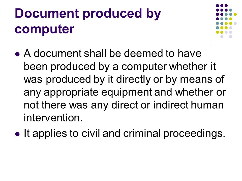 Document produced by computer