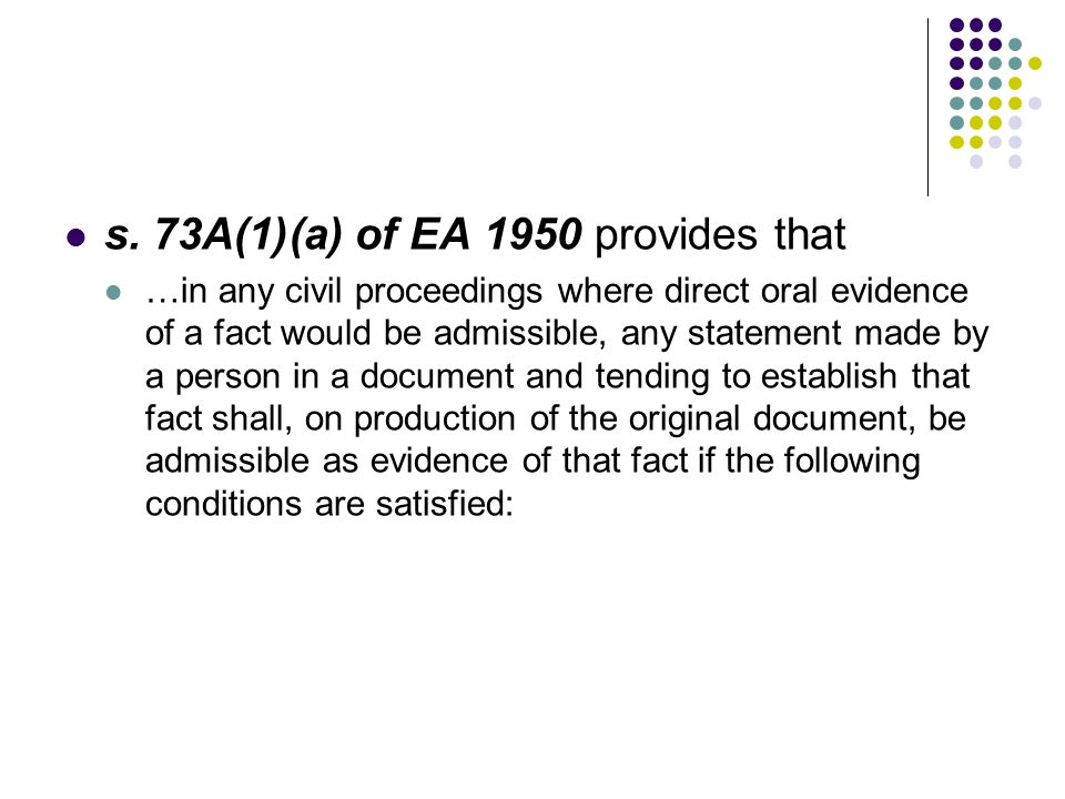 s. 73A(1)(a) of EA 1950 provides that