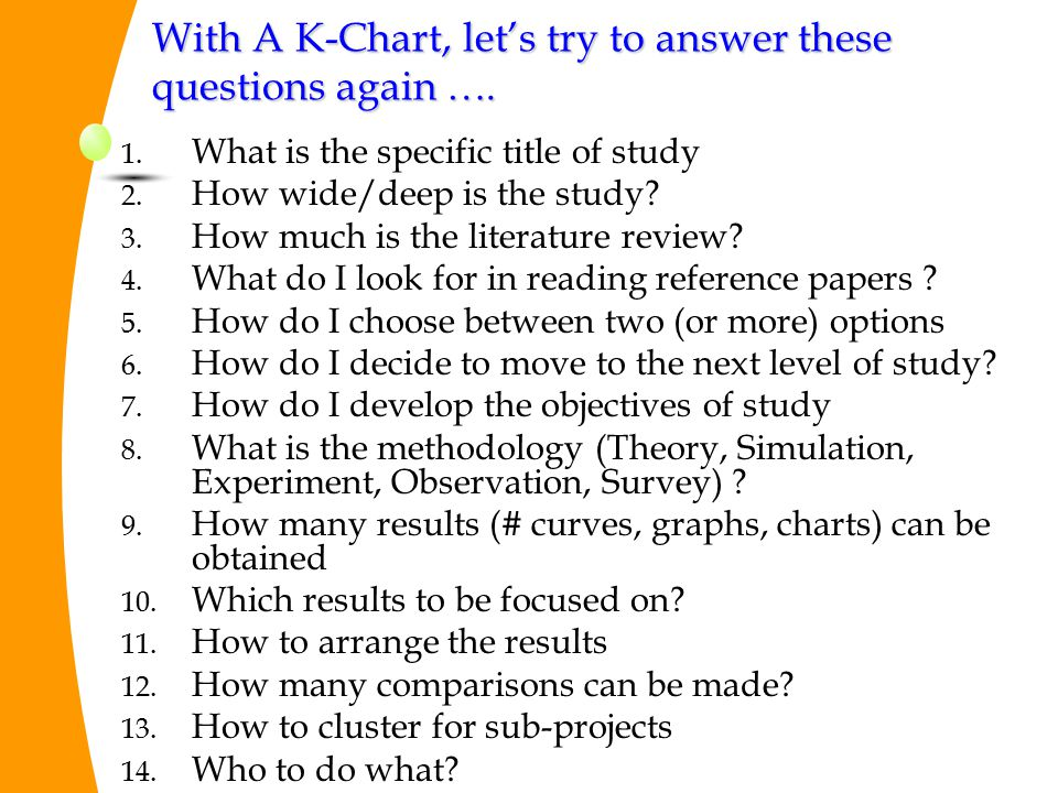 With A K-Chart, let's try to answer these questions again ….