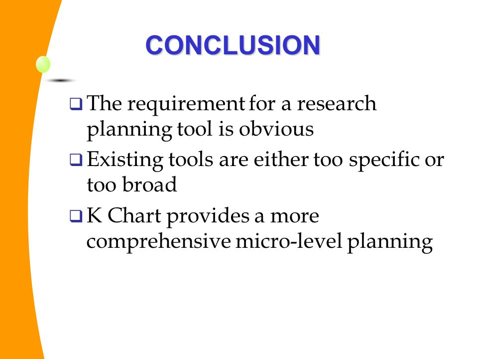 CONCLUSION The requirement for a research planning tool is obvious