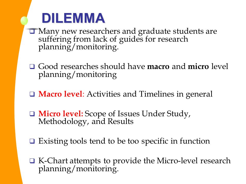 DILEMMA Many new researchers and graduate students are suffering from lack of guides for research planning/monitoring.
