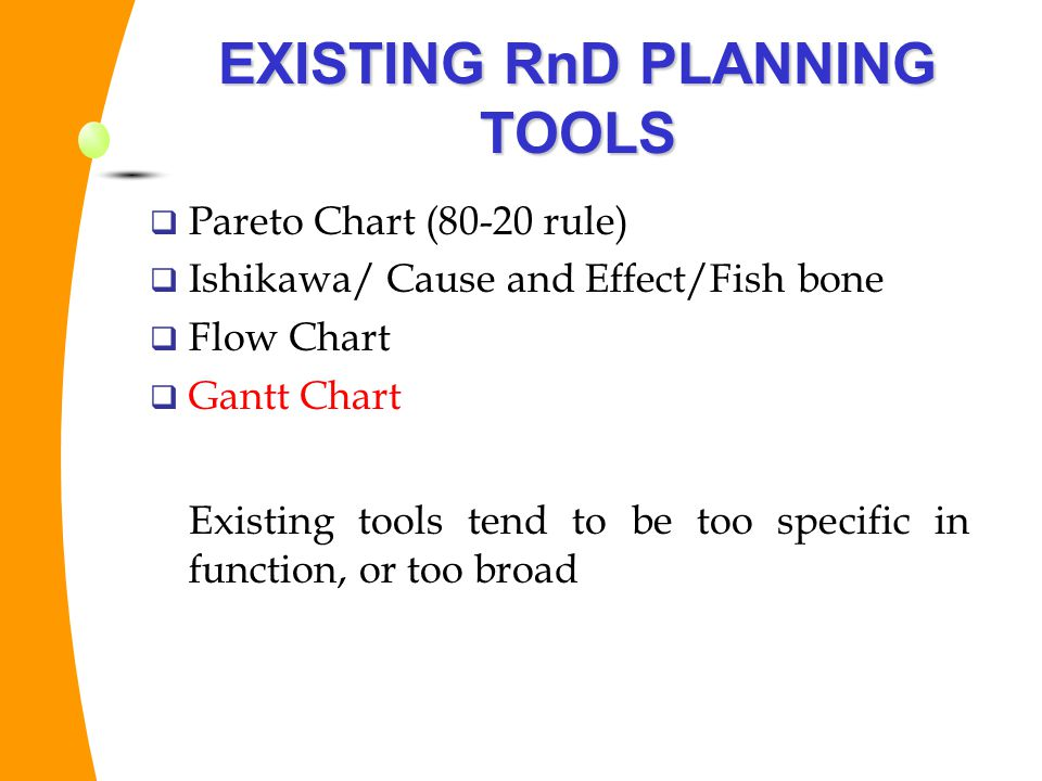 EXISTING RnD PLANNING TOOLS