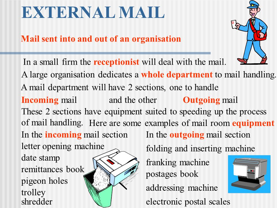 EXTERNAL MAIL Mail sent into and out of an organisation