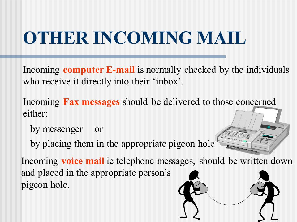 OTHER INCOMING MAIL Incoming computer E-mail is normally checked by the individuals. who receive it directly into their 'inbox'.