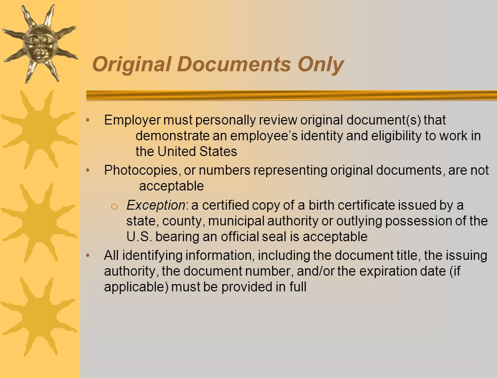 Original Documents Only