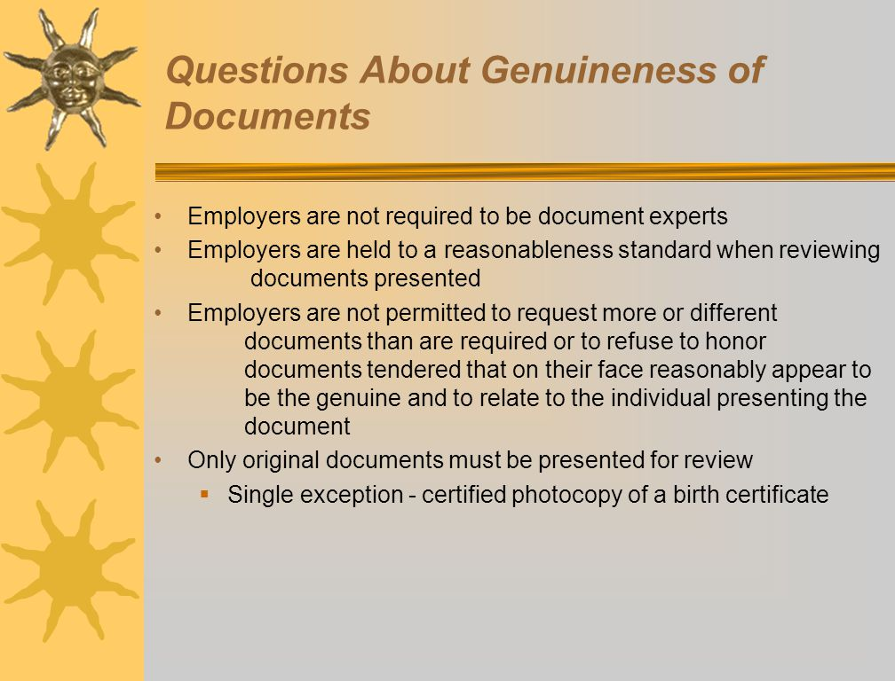 Questions About Genuineness of Documents