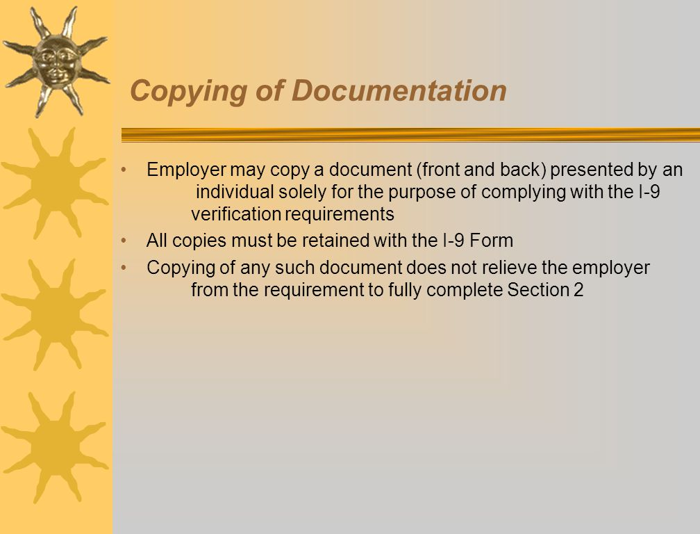 Copying of Documentation