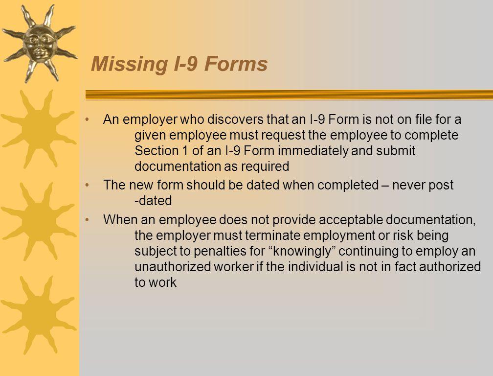 Missing I-9 Forms