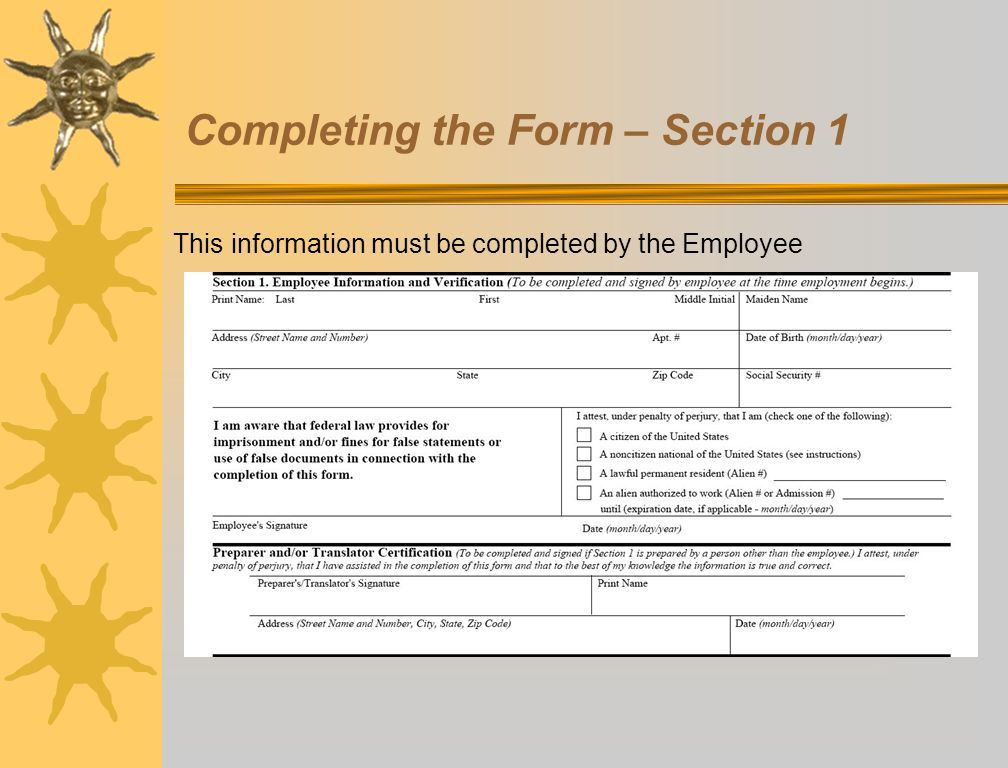 Completing the Form – Section 1