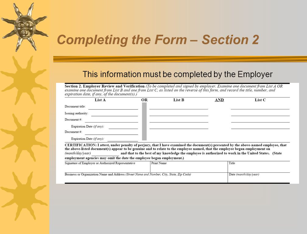 Completing the Form – Section 2