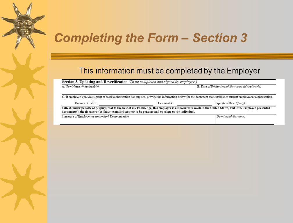 Completing the Form – Section 3
