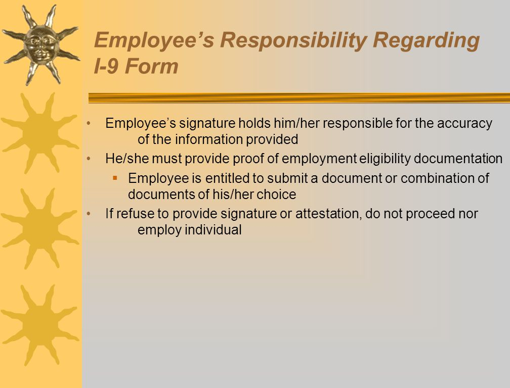 Employee's Responsibility Regarding I-9 Form