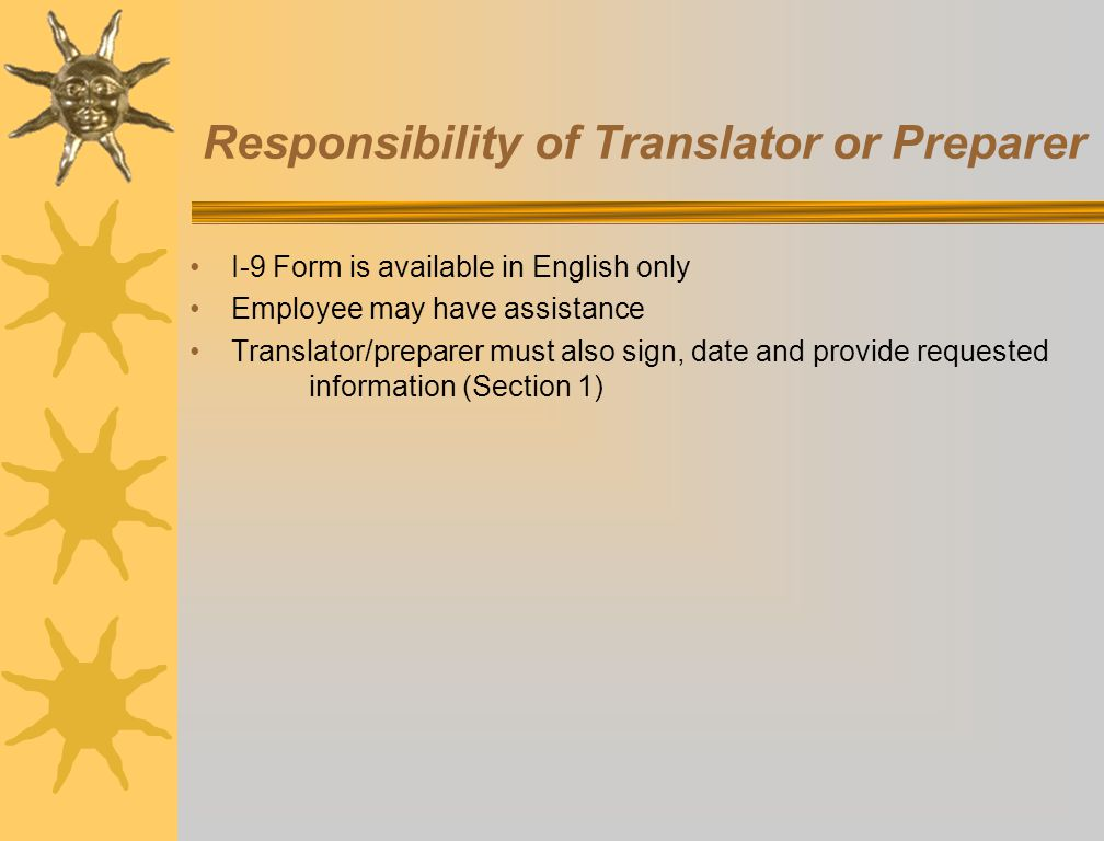 Responsibility of Translator or Preparer